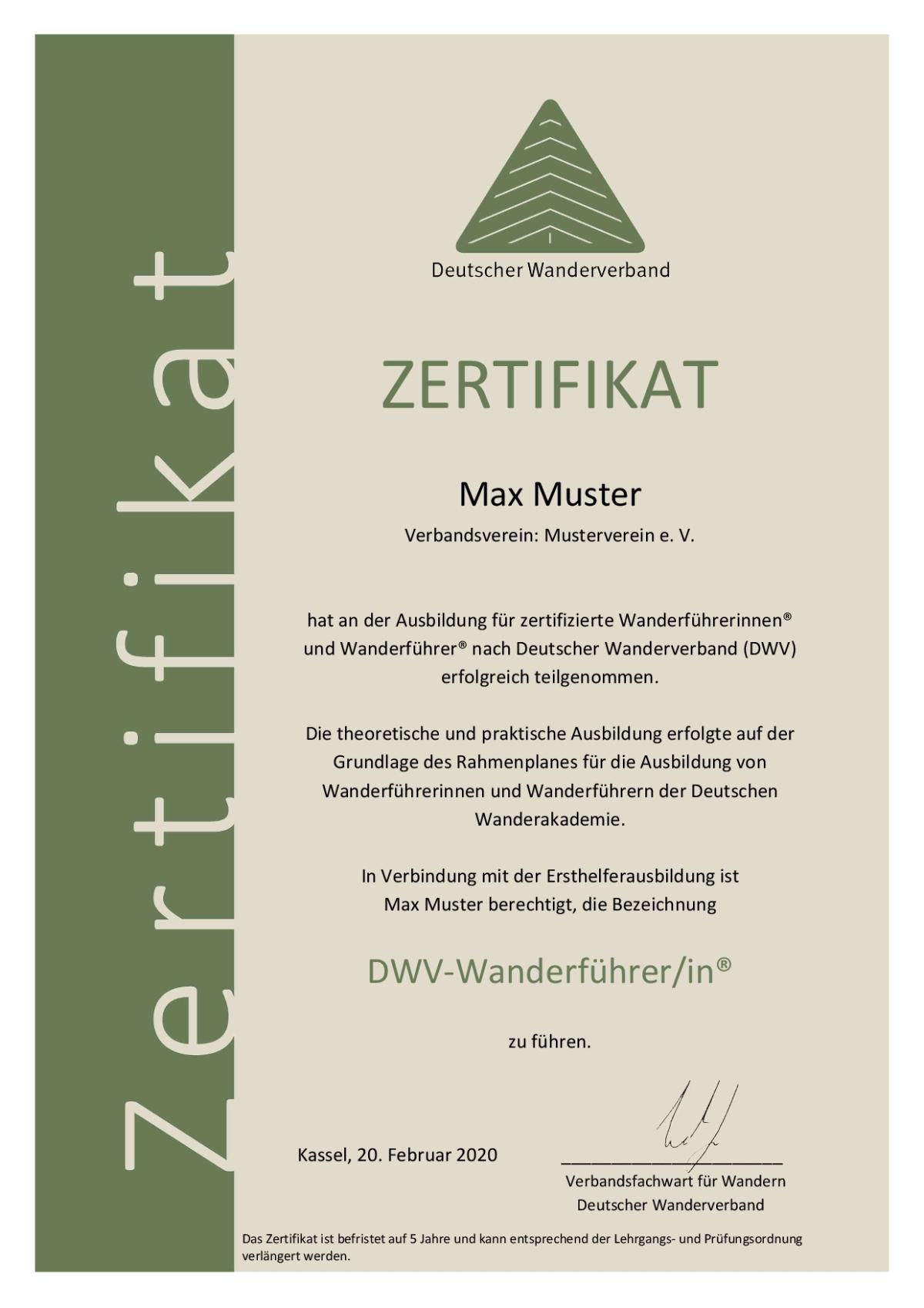 Musterzertifikat der Ausbildung zur*zum zertifizierten DWV-Wanderführer*in