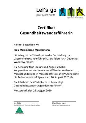 Zertifikat der Ausbildung zur*zum DWV-Gesundheitswanderführer*in